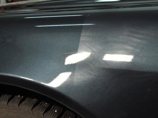 Фото до и после полировки крыла авто